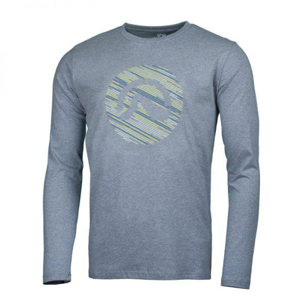 NORTHFINDER pánske tričko cotton logo stripes melange LINO 4