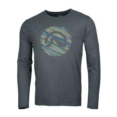 NORTHFINDER pánske tričko cotton logo stripes melange LINO 9